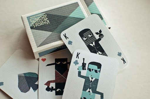 """Extensive series by student Jon Wong called """"Beast in a Neon Cag."""" It includes these beautiful playing cards."""