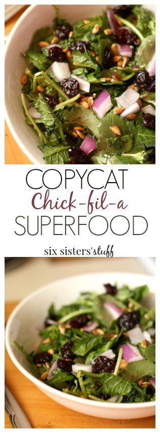 Copycat Chick-fil-a Superfood from SixSistersStuff.com | Try this healthy salad copycat recipe that's new on Chick-fil-a's menu. If you're skeptical of kale, trust us, this was so good we went back for more!