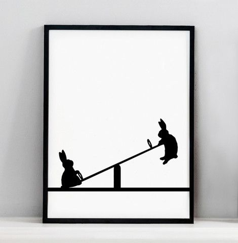 Seesawing Rabbit Print