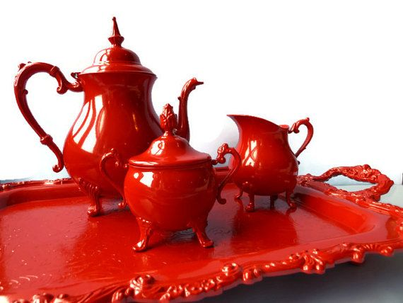 Antique tea set enameled in Gloss Red Silver by BMCVintageDesign