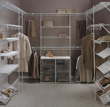 Superb White Wire Walk In Closets Upper And Lower Hanging Sections Pull Out  Baskets Shoe Shelves Wrap Around Corners
