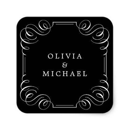 Black white elegant vintage flourish calligraphy square sticker - elegant gifts gift ideas custom presents
