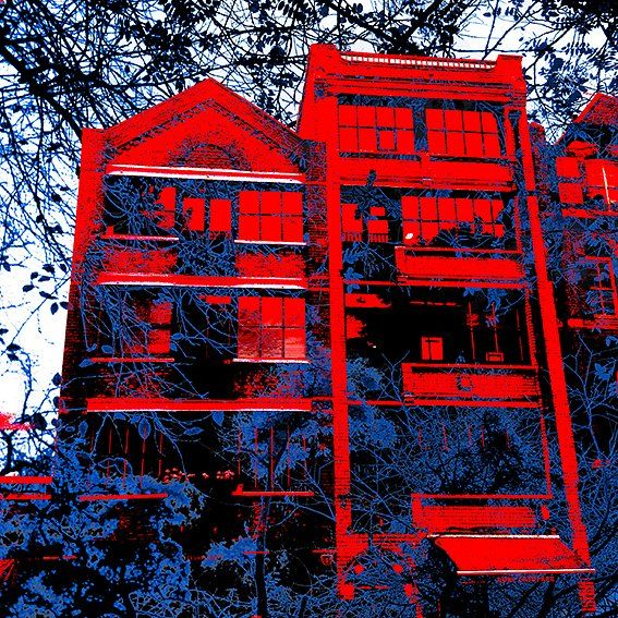 Building meets Trees London, UK. 2015.  www.facebook.com/doubleexposeeurope  www.facebook.com/craighullphoto  www.craighullphotography.etsy  #ScreenPrint - #DoubleExposeEurope - #London - #RubyRed