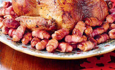 pancetta-wrapped sausages (Nigella Lawson)