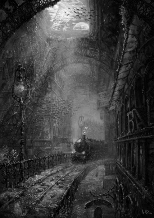 Train going through a gothy town