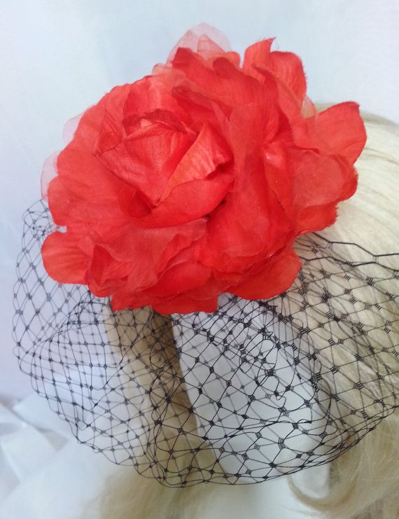 Black bridal birdcage veil with red fabric flower accent #handmade #picoftheday