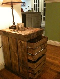 Pallet wood storage end table  https://www.facebook.com/LHPalletCreations    I plan on making something similar to this to go between my couch and recliner