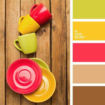 amarillo claro, amarillo verdoso, carmesí fuerte, color amarillo limón, color frambuesa, color marrón claro, color verde lima, combinación de colores para decorar interiores, de miel, selección de colores para el diseño de interiores, tonos marrones, verde lechuga claro.