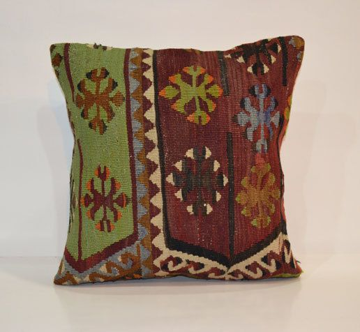 Kilim Pillow Cover Ethnic Decorative Throw Pillow 40x40 Primitive Boho Cushion 16x16 Rustic Decor Shabby Chic Pillow Bohemian Home Decor on Etsy, $58.00
