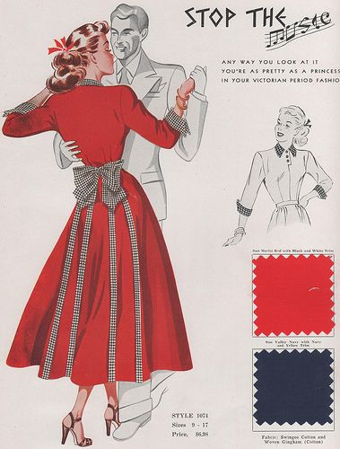 Fashion Frocks 1949 40s 50s red dress fit flare bow back color photo illustration fashion style post war era