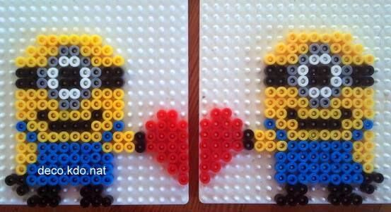 Valentines Day Minions hama perler beads by Deco.Kdo.Nat