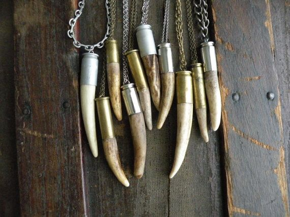 Antler tip bullet shell necklace chain rustic upcycled recycled punk vintage…