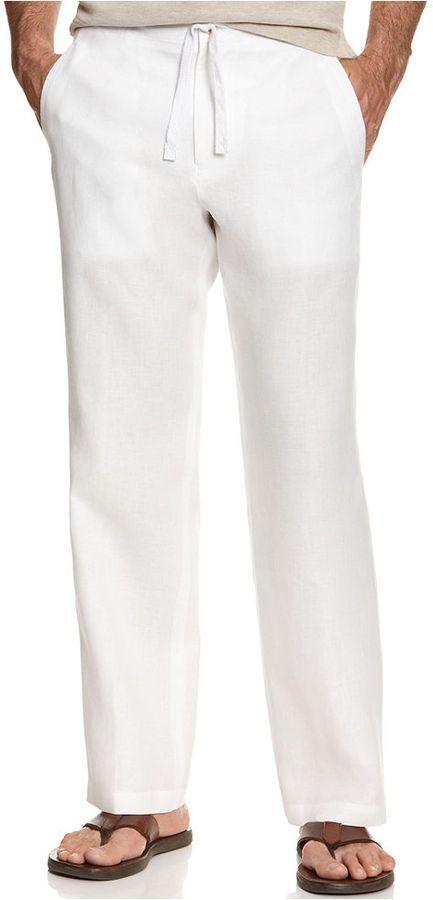 Tasso Elba Big and Tall Pants, Linen Drawstring Pants on shopstyle.com
