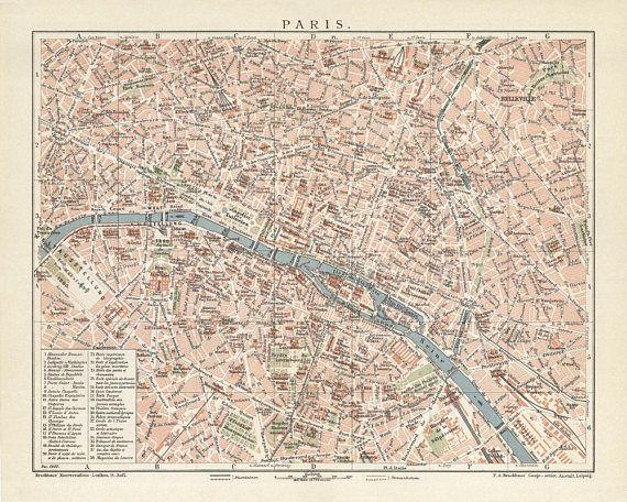 Paris Antique Map Reproduction /  Old Map Print of Paris  - handmade paper print
