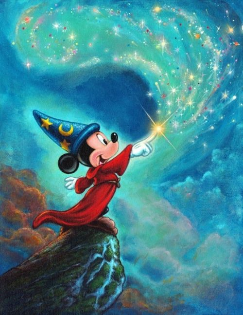 "*MICKEY MOUSE ~ Sorcerer's Apprentice. Disney Fine Art: ""Symphony of Color"" by Annick Biaudet"