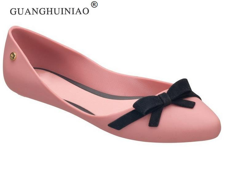 2017 women's shoes pointed toe flat-bottomed single shoes  jelly shoes candy color bow sandals