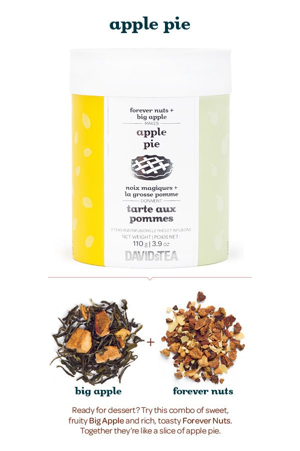 A combo of sweet fruity Big Apple and rich, toasty Forever Nuts. Blend them together and you get a slice of apple pie. And with each tea in its own compartment, you can mix them up however you like it – or just enjoy them on their own.