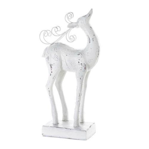Shabby White Reindeer Statue Figurine Decorative Christmas Holiday Decor