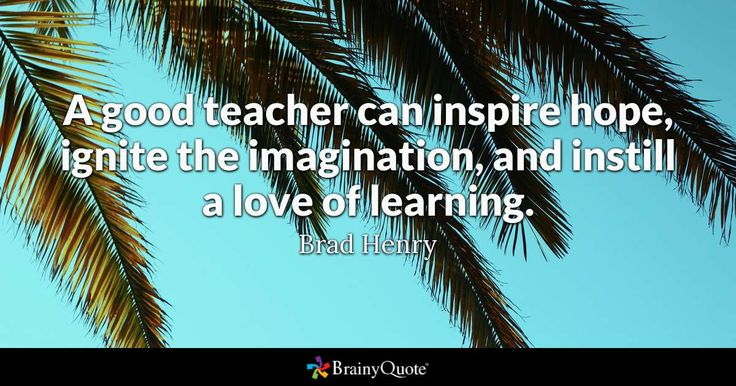 """""""A good teacher can inspire  hope, ignite the imagination, and instill a love of learning"""" - Brad Henry"""