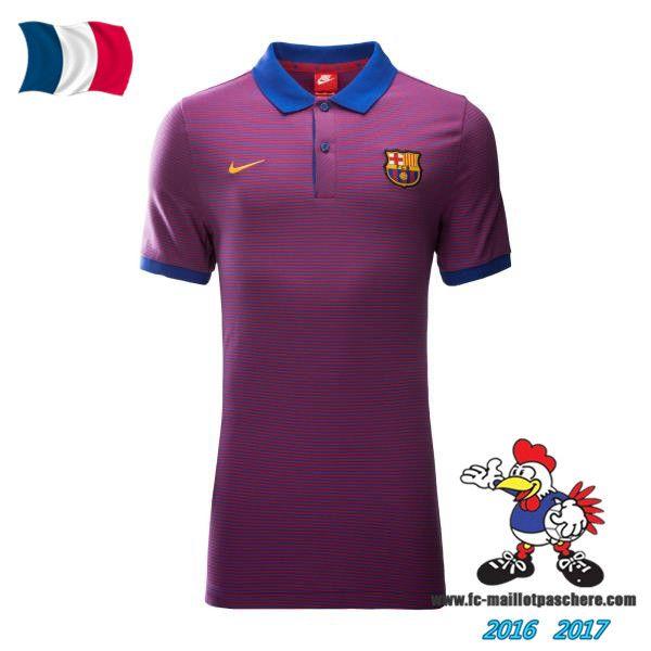 Promo Polo De Foot FC Barcelone Pourpre 2016/2017 Pas Cher