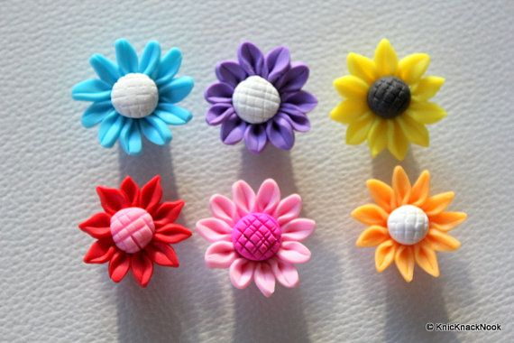 6 x Mixed Fimo Sunflower Polymer Clay Bead 25mm by KnicKnackNook