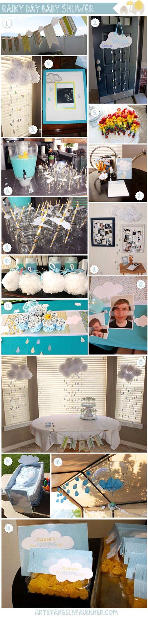 Rainy Day Baby Shower with step-by-step instructions.  #freeprintables #babyshower #ideas