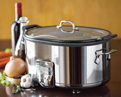 I want....I want....I want All-Clad Deluxe Slow Cooker Features a nonstick cast-aluminum insert that you can use on the stovetop to brown ingredients before transferring it to the base for slow cooking. Push-button controls and easy-to-read digital display eliminate guesswo