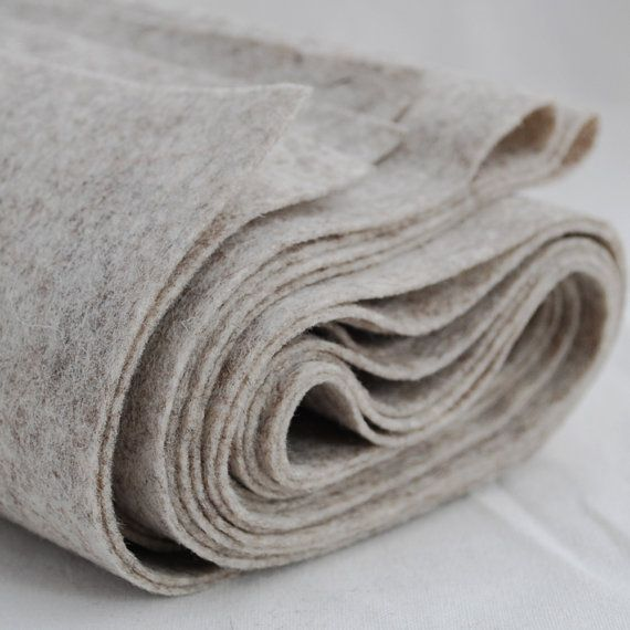"100% Wool Felt Fabric - 71"" (180cm) x 1/2 yard (46cm) - 1mm Thick - Made in Western Europe - Natural Beige"