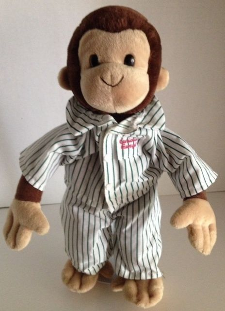 "Gund CURIOUS GEORGE 13"" Monkey Green Striped Pajamas Stuffed Animal #GUND"