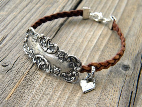 Natural Leather Bracelet Braided Leather Spoon by DeetabyDesign