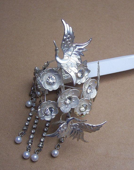 Vintage Japanese Geisha Comb Hairpin Set Silver tone Flowers Hair Accessory