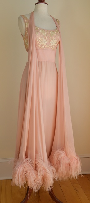 Feather Trimmed Vintage Chiffon Gown