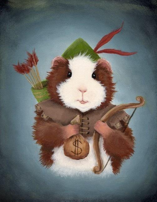 Guinea Pig Robin Hood Art Print @ WhenGuineaPigsFly.etsy.com