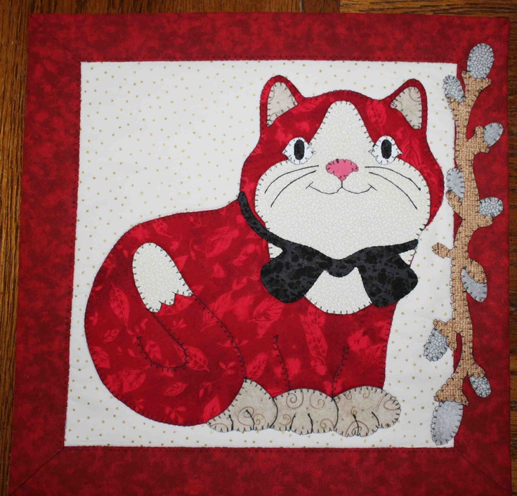 cat quilted applique wall hanging