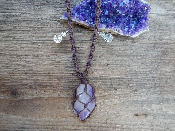 Healing Amethyst Stone Necklace, Macrame Wrapped In Brown Cord.