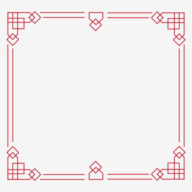 枠飾りイラスト 中国風の赤枠の装飾 四角枠 直線枠 赤枠 中華風枠 クリエイティブ枠 結婚式 招待状 花 イラスト フレーム 無料