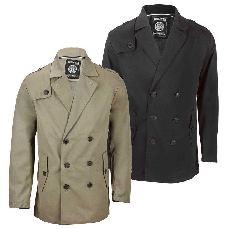 Mens Soul Star Columbia Double Breasted Jacket Trench Mac Short Coat Black Tan