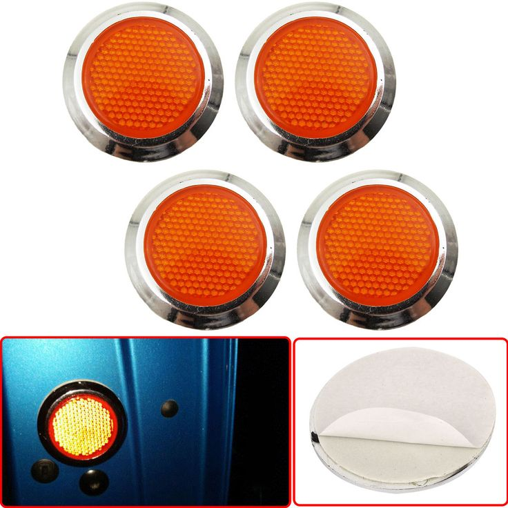 nice Awesome 4x Orange Reflective Car Motorcycle Sticker Reflector Round Chrome Self Adhesive 2018 Check more at http://24carshop.com/cars-gallery/awesome-4x-orange-reflective-car-motorcycle-sticker-reflector-round-chrome-self-adhesive-2018/