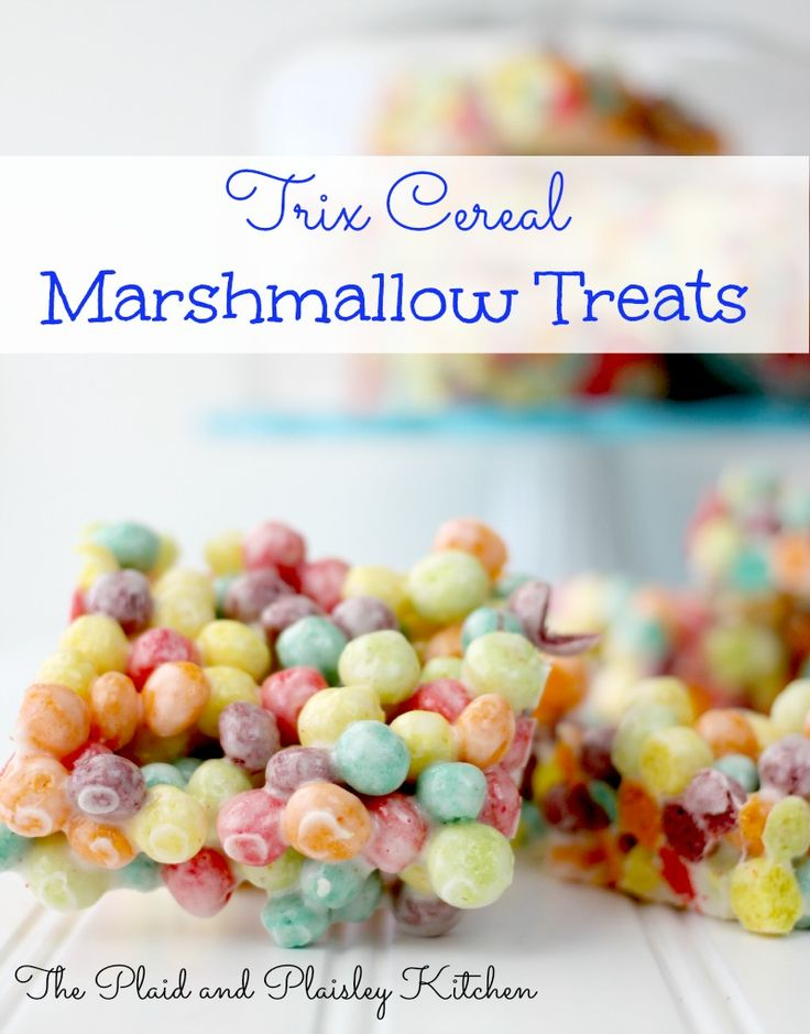 Trix Cereal Marshmallow Treats So Yummy and So Pretty! Perfect for Birthday Parties or just because the sun is shining.