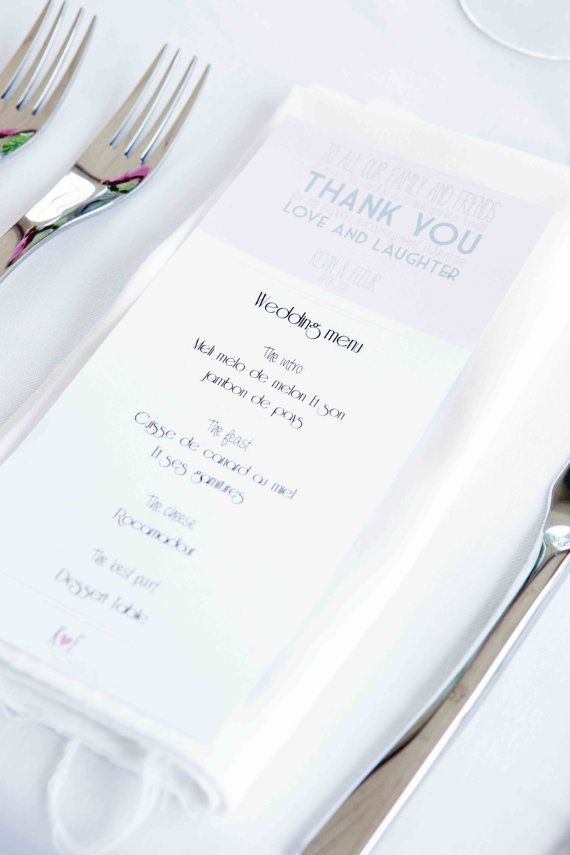 Wedding party menu cards 10 Printable menu card by Bonjourtoyou