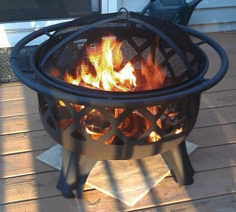 Hampton Bay Crossfire 29.50 in. Steel Fire Pit with Cooking Grate 25915 at The Home Depot - Mobile