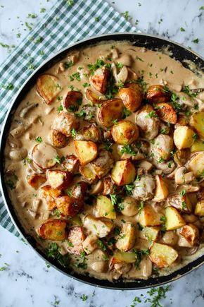 Ovnbagte Kartofler Og Kylling I En Champignon Flødesauce – One Kitchen – A Thousand Ideas