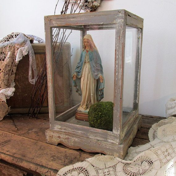 Wood and glass farmhouse terrarium or by AnitaSperoDesign on Etsy