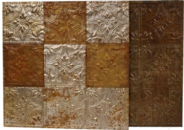 Köp - 1295 kr! Väggdekoration antika takplattor - Järn/trä. Dekorativa plattor att pryda väggen med. Ytan på framsidan är