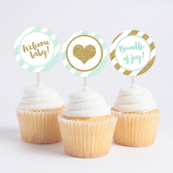 Mint And Gold Glitter Baby Shower Cupcake Toppers   Instant Download
