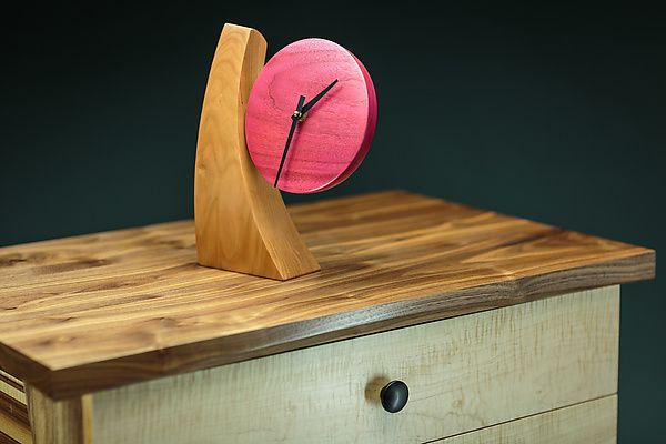 Adjustable Desk Clock III by Todd Bradlee. Cherry and walnut with aniline dye and a lacquer finish. The clock can rotate, changing the viewing angle. Signed & dated on back.