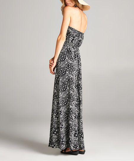 Love, Kuza Black & White Floral Strapless Maxi Dress | zulily