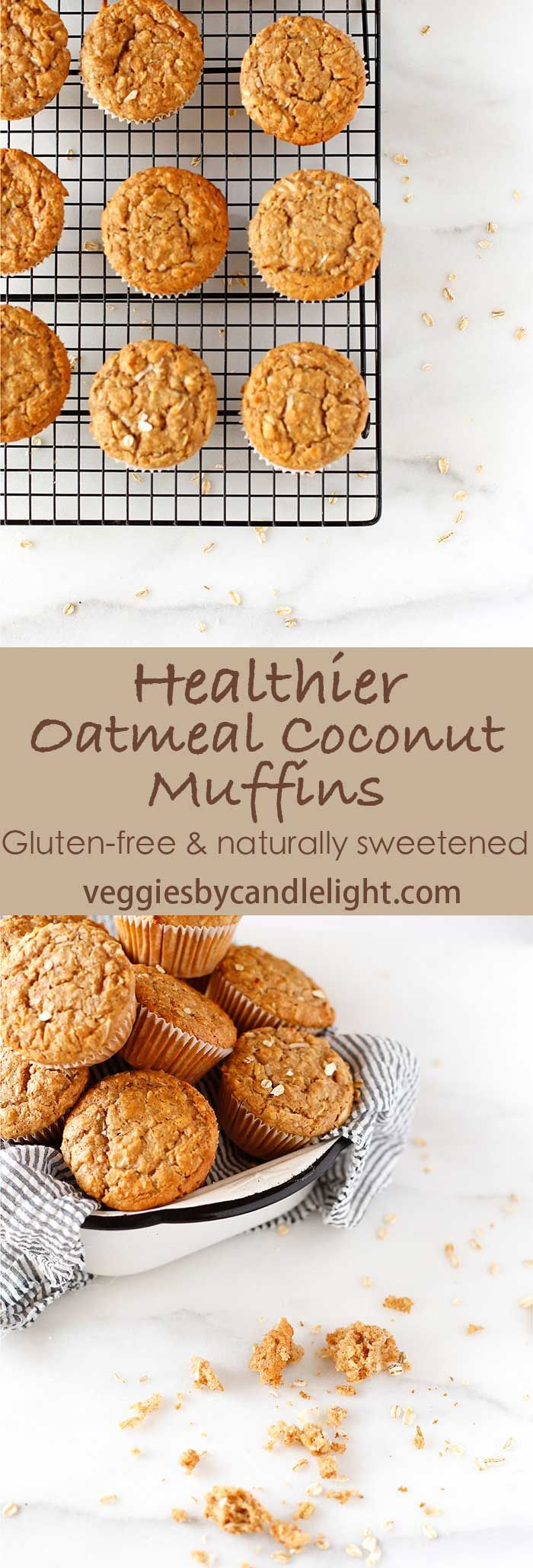 Healthier Oatmeal Coconut Muffins - Gluten-free & naturally sweetened .. these muffins are tender, fluffy, and not overly heavy.
