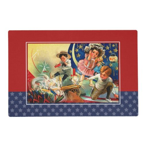 Vintage Kids 4th of July Party Placemats. Funny Vintage Kids design 4th of July Party, 4th of July BBQ, 4th of July Birthday Party , any American themed Party Placemats. Matching cards, postage stamps and other products available in the Holidays / 4th of July Category of the oldandclassic store at zazzle.com