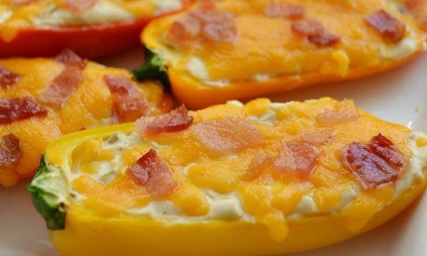 Sajtos baconos paprika a fittnes vacsora